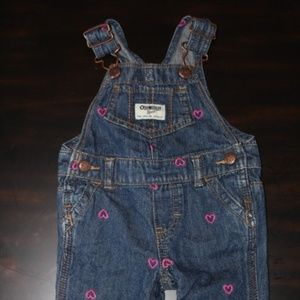 Blue Demin Overalls Embroidered Pink Hearts 6M